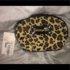 Betsey Johnson brown/tan Cheetah print makeup bag